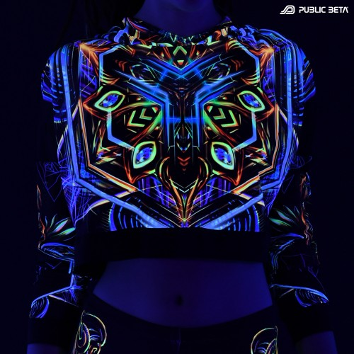 Blacklight Reactive Hooded Crop Top Mesh /Sacred Skull D102