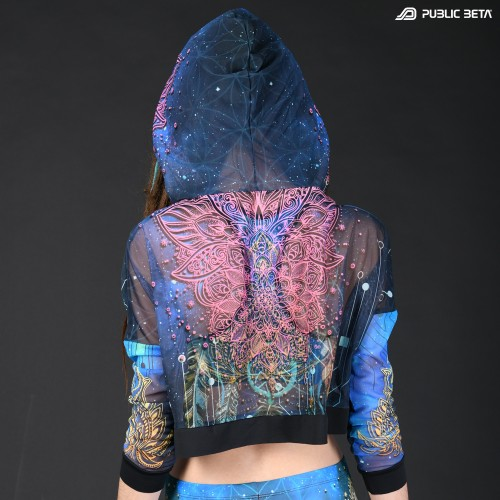 Blacklight Reactive Hooded Crop Top Mesh /Glow D130