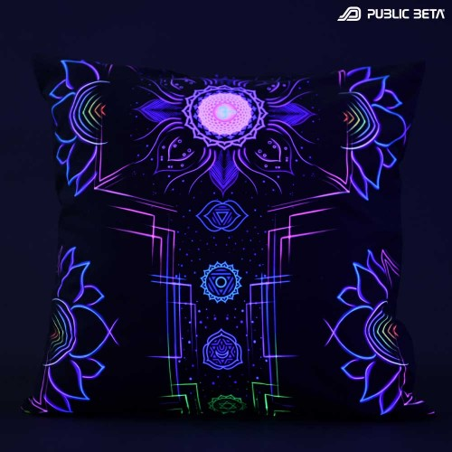 Chakra Power UV D112 Glow in Blacklight Pillow Cover / Psydeco