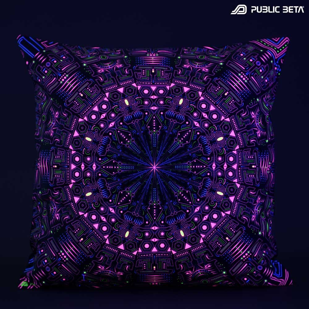 Glow in Blacklight Pillow Cover / Psydeco / Maya Machine UV D115