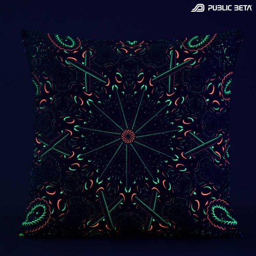 Psycrifise UV D125 Glow in Blacklight Pillow Cover / Psydeco