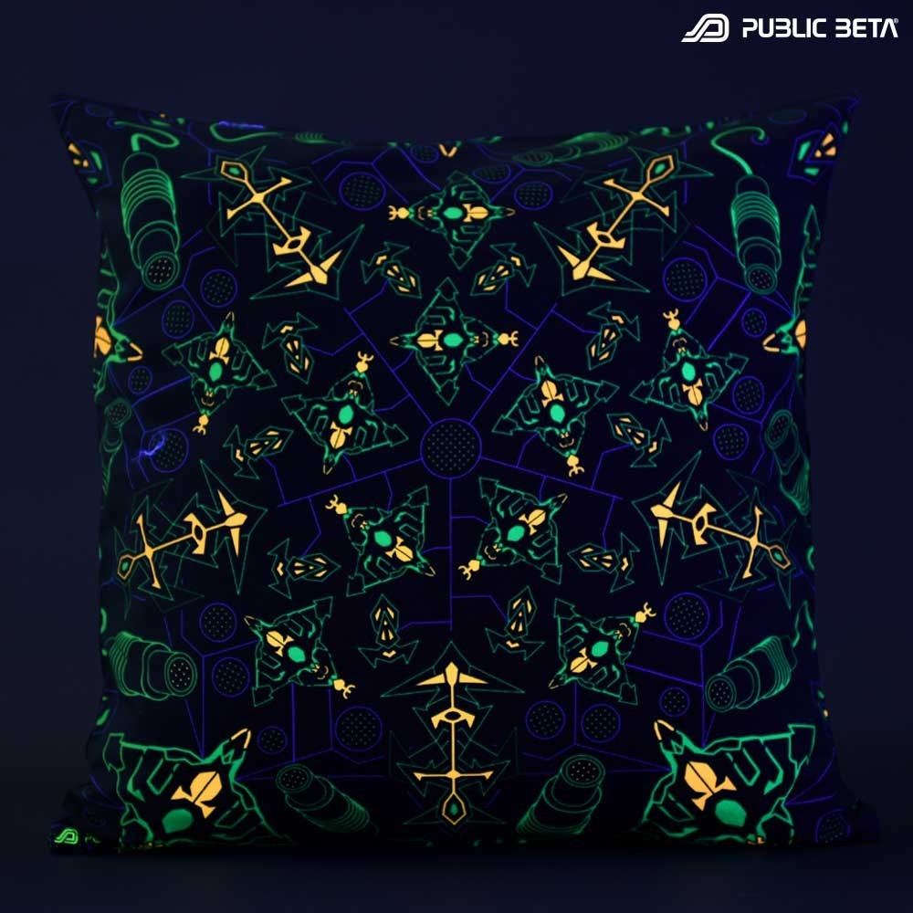 Glow in Blacklight Pillow Cover / Psydeco / TrancePort UV D142