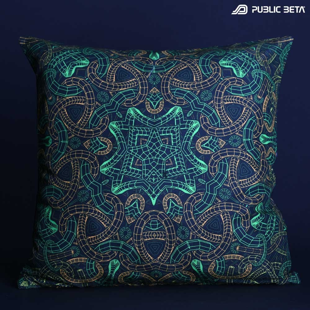 Glow in Blacklight Pillow Cover / Psydeco / Knoty UV D143