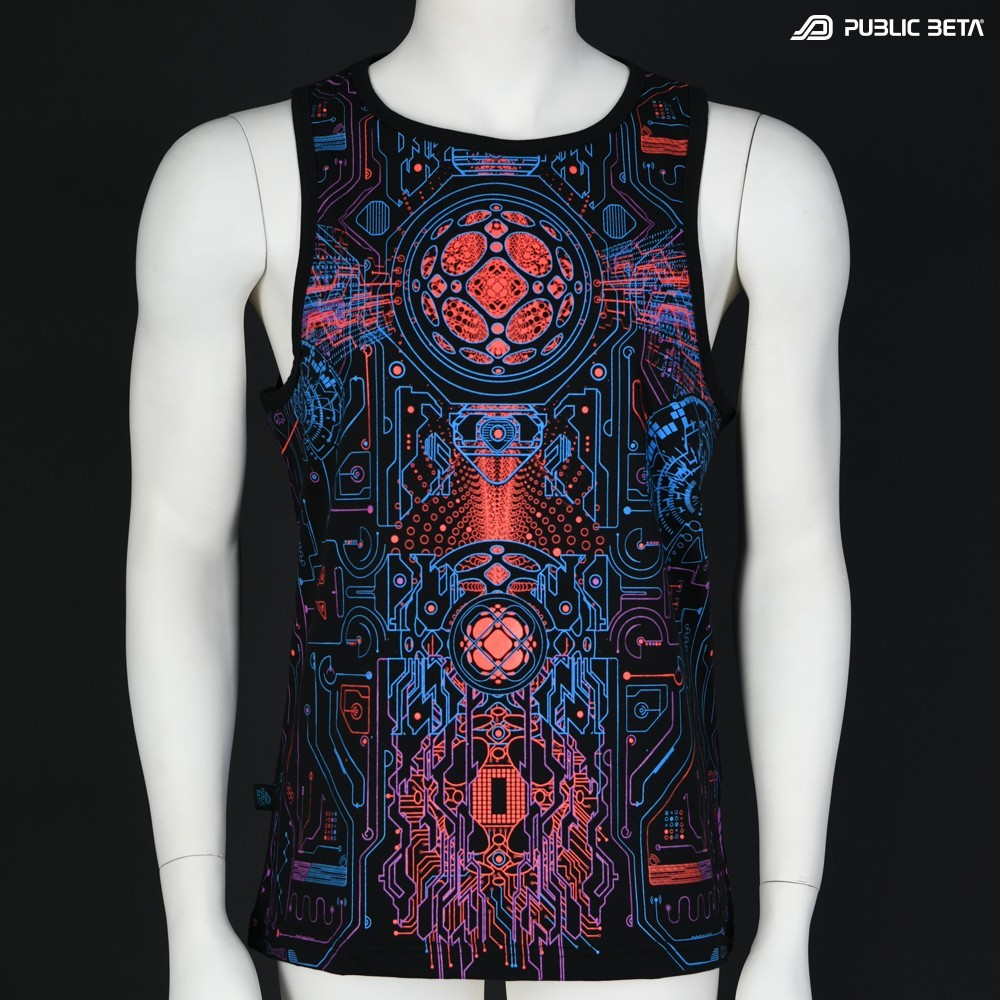 Motherboard UV D146 Sleeveless Shirt with UV Active Psychedelic Print