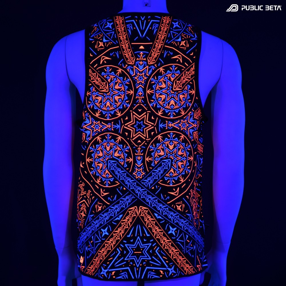 Fortune Teller UV D141 Sleeveless Shirt/ Glow in Blacklight Psytrance Wear