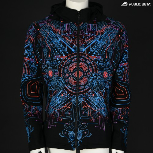 Motherboard UV D146 Hooded Sweater / Glow in Blacklight Psywear