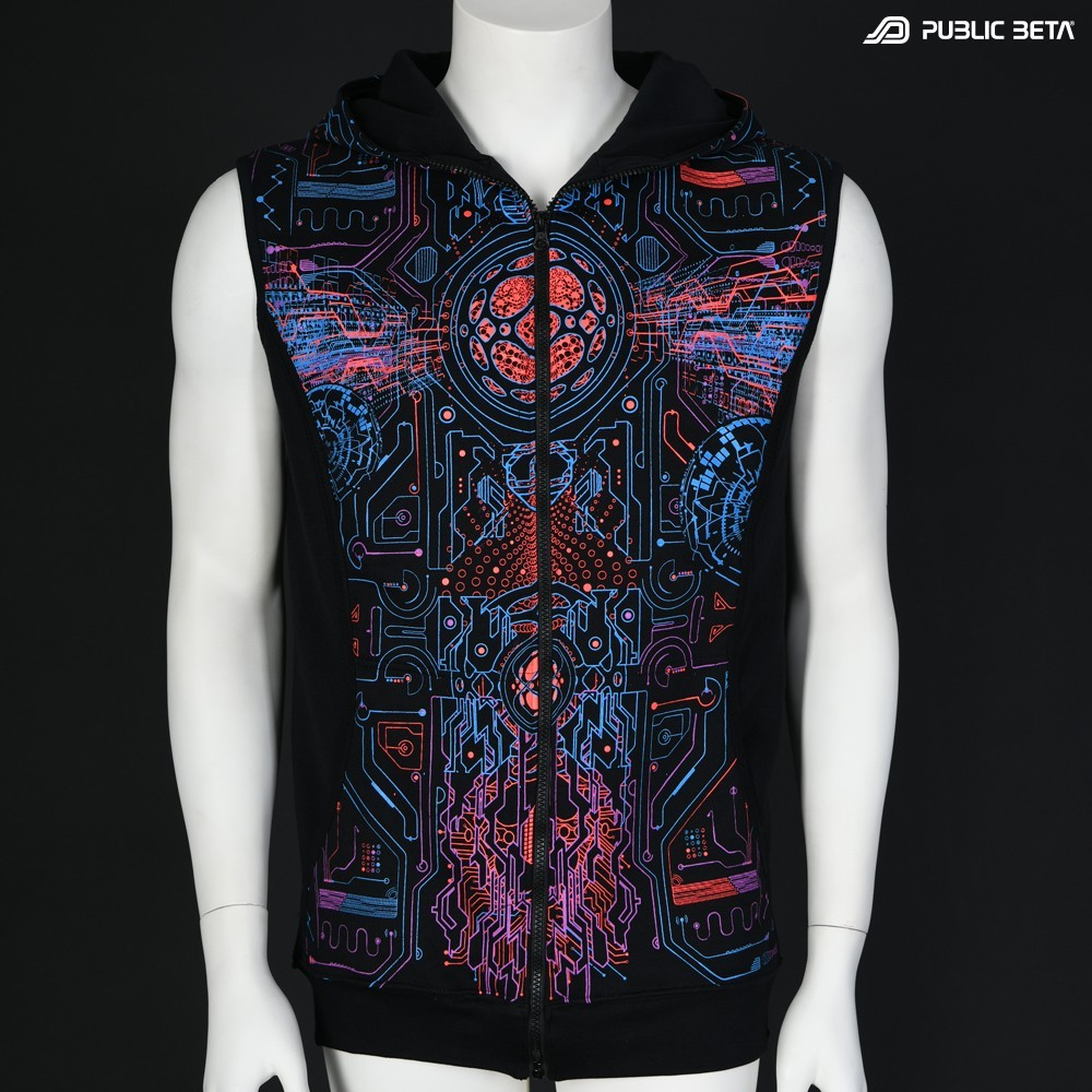 Glow in Blacklight Hooded Zip Vest / Motherboard UV D146
