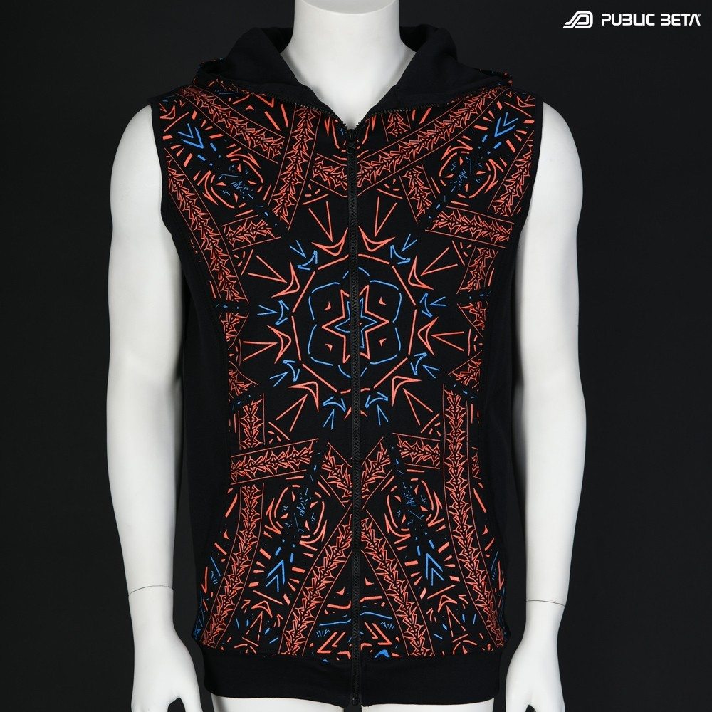Glow in Blacklight Hooded Zip Vest / Fortune Teller UV D141