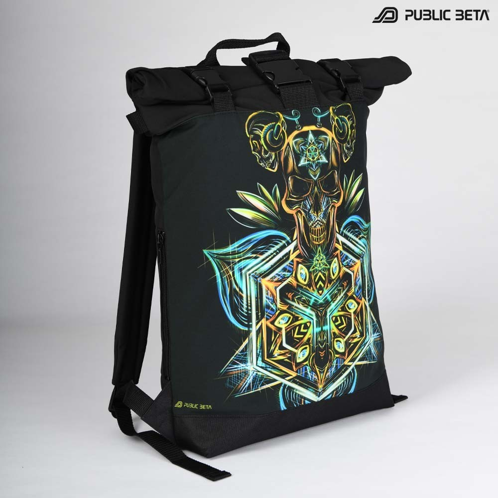 Backpack with Roll-Top / Sacred Skull UV D102