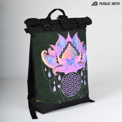 Glow in Blacklight Roll-Top Backpack / Lotus23 UV D109