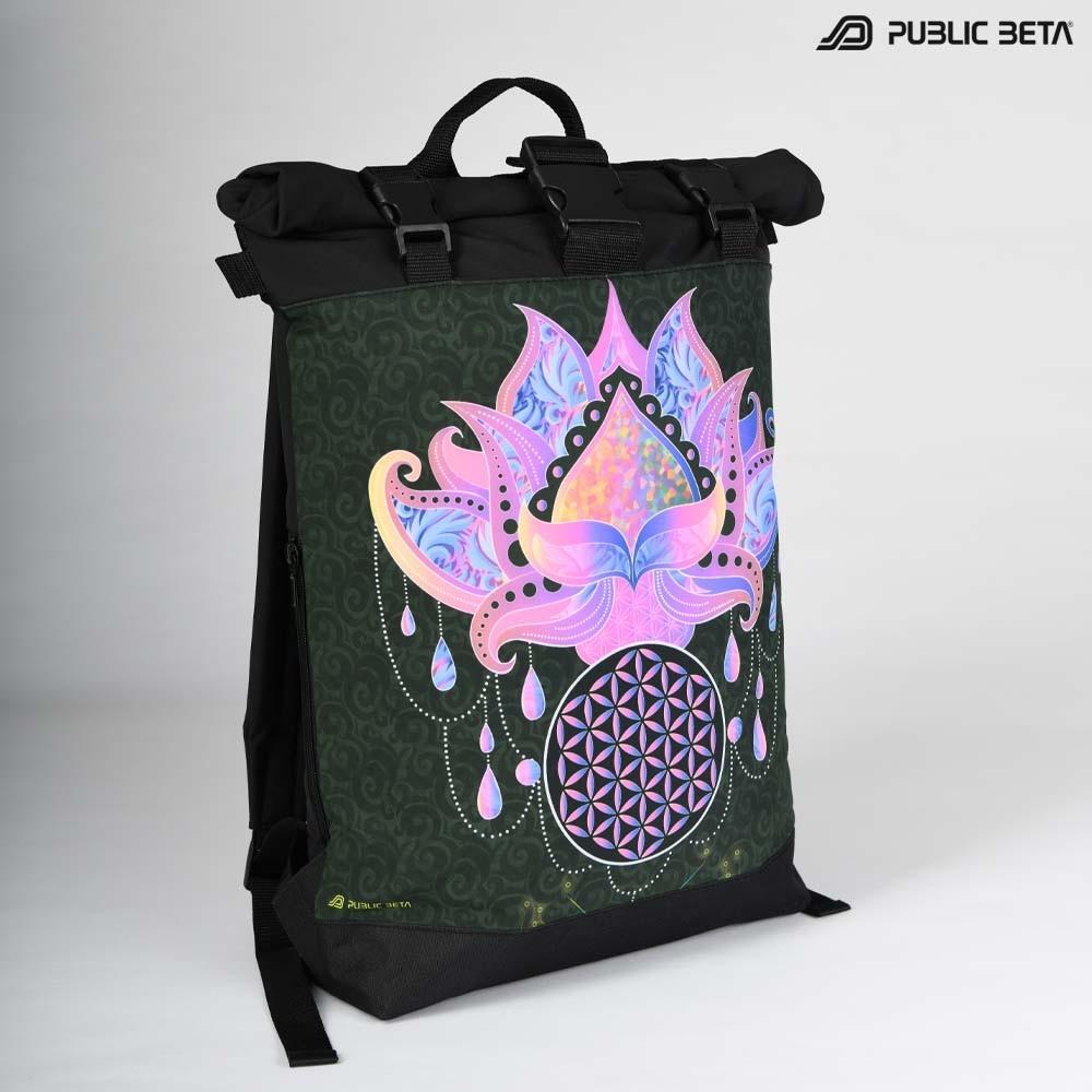 Glow in Blacklight Roll-Top Backpack / Lotus23 UV D109