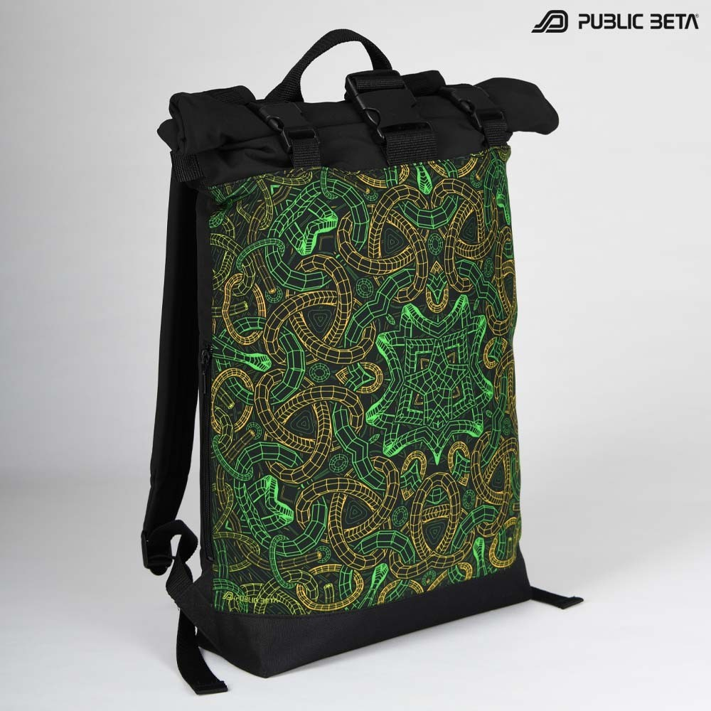 Backpack with Glow in Blacklight Digital Print Rolltop