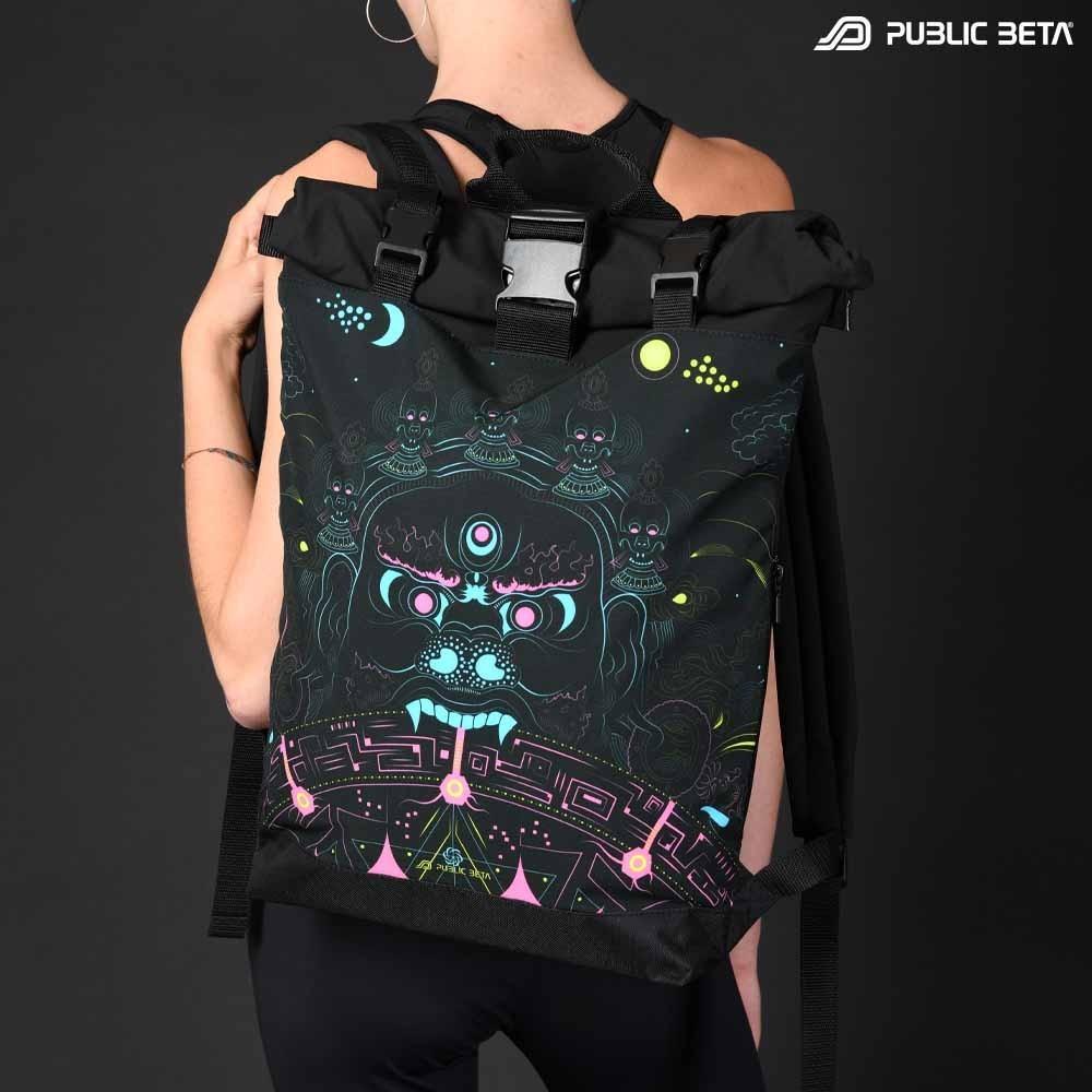Backpack with Glow in Blacklight Digital Print Rolltop