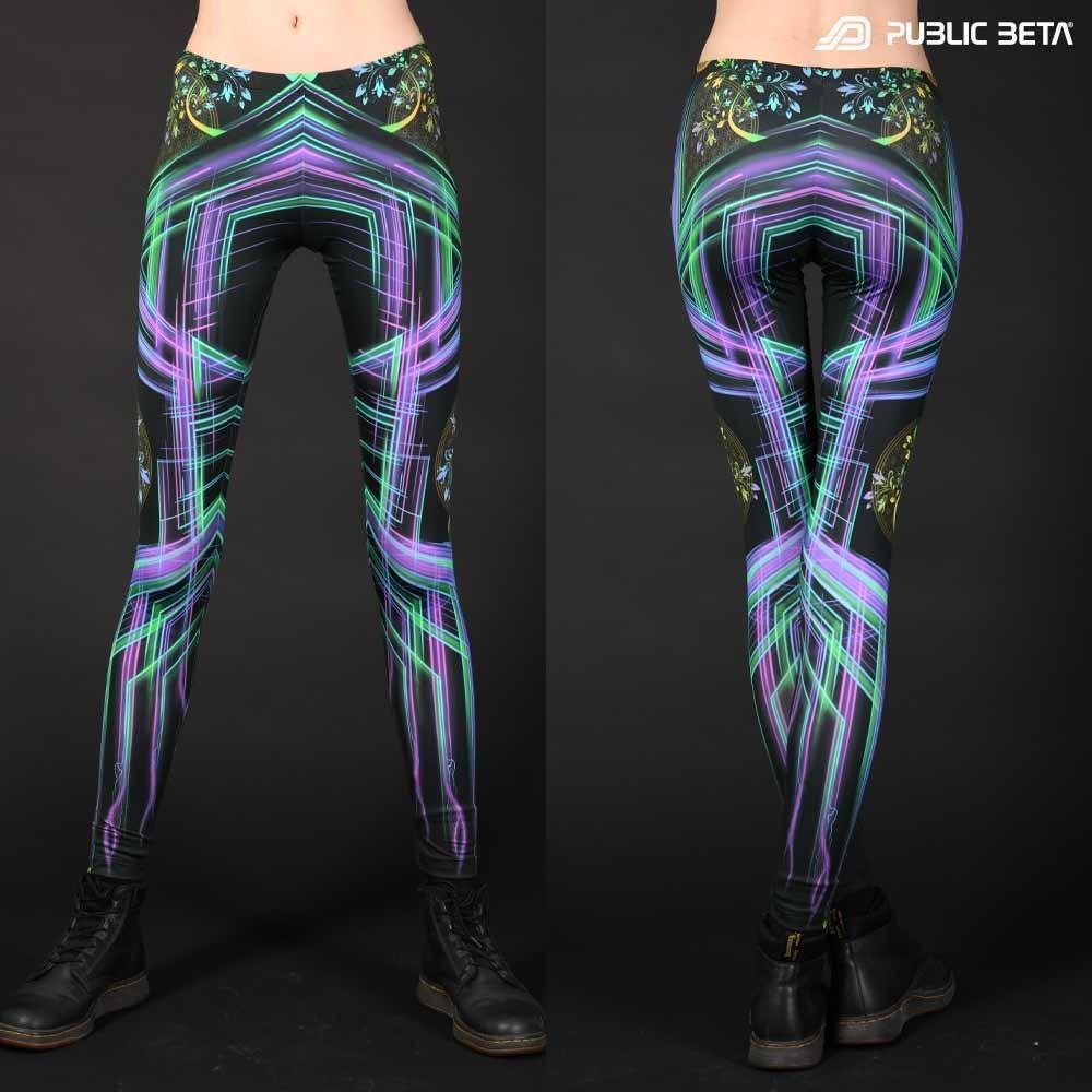 DigiTree UV D144 Neon Glow Psychedelic Leggings