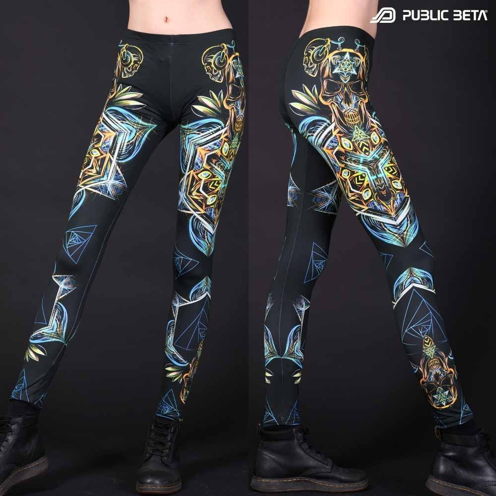 Sacred Skull D102 Blacklight Art Printed Leggings