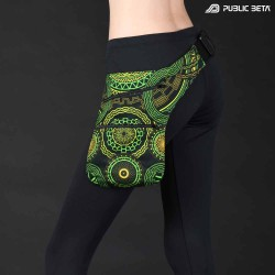 Psytrance festival gear, uv active psyart printed bag, utility belt.