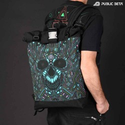 Backpack with Glow in Blacklight Digital Print. Rolltop Backpack made of Softshell.