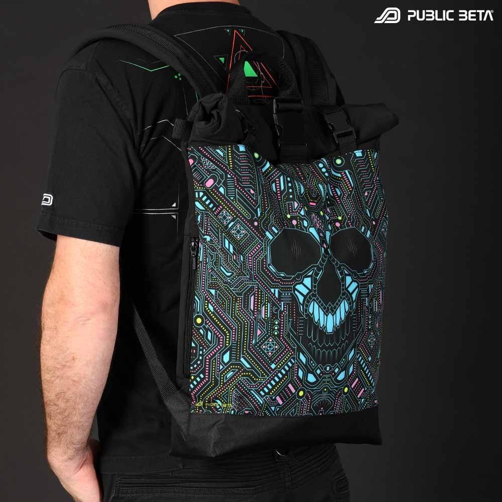 Glow in Blacklight Roll-Top Backpack / BOT UV D121