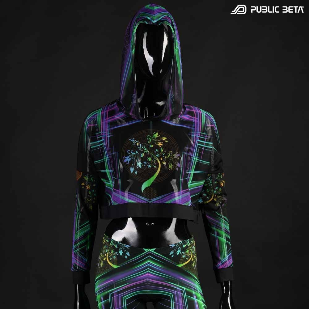 Hooded Crop Top/ Glow in Blacklight Mesh /DigiTree D144
