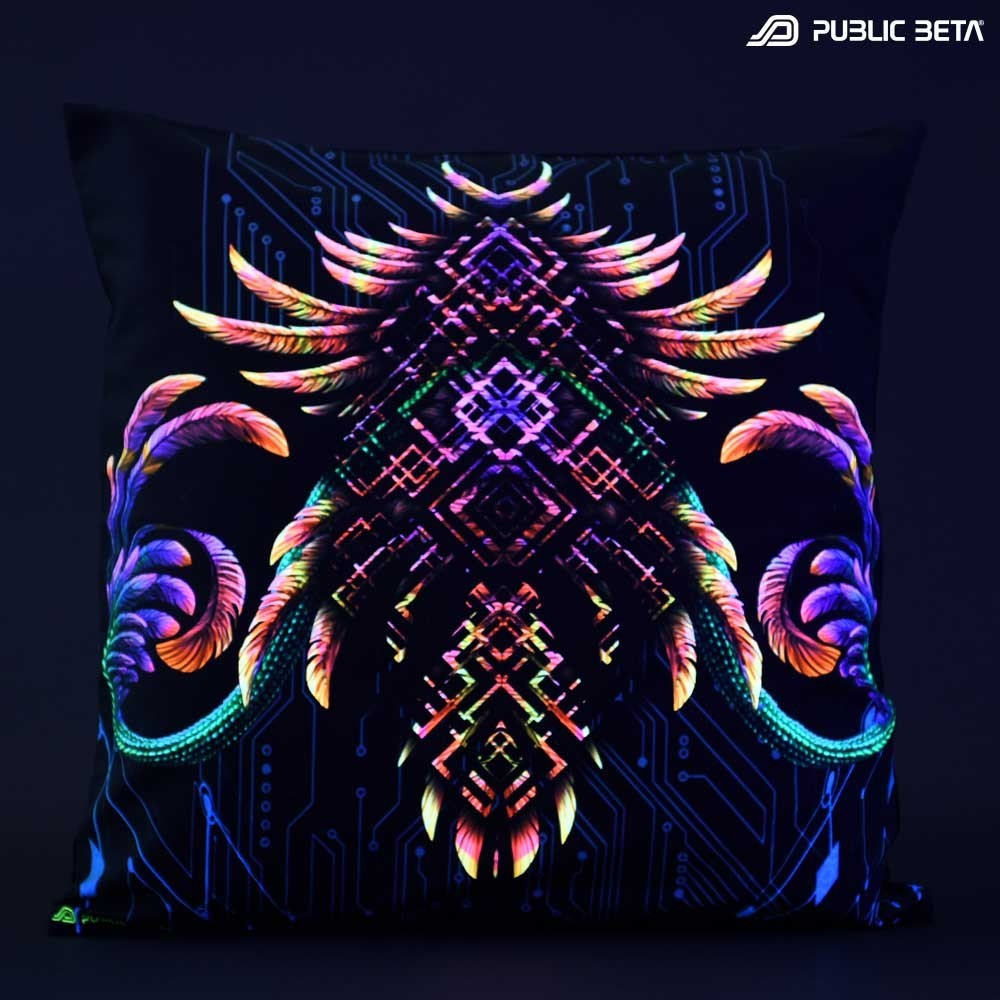 Glow in Blacklight Pillow Cover / Psydeco / Supernatural UV D136