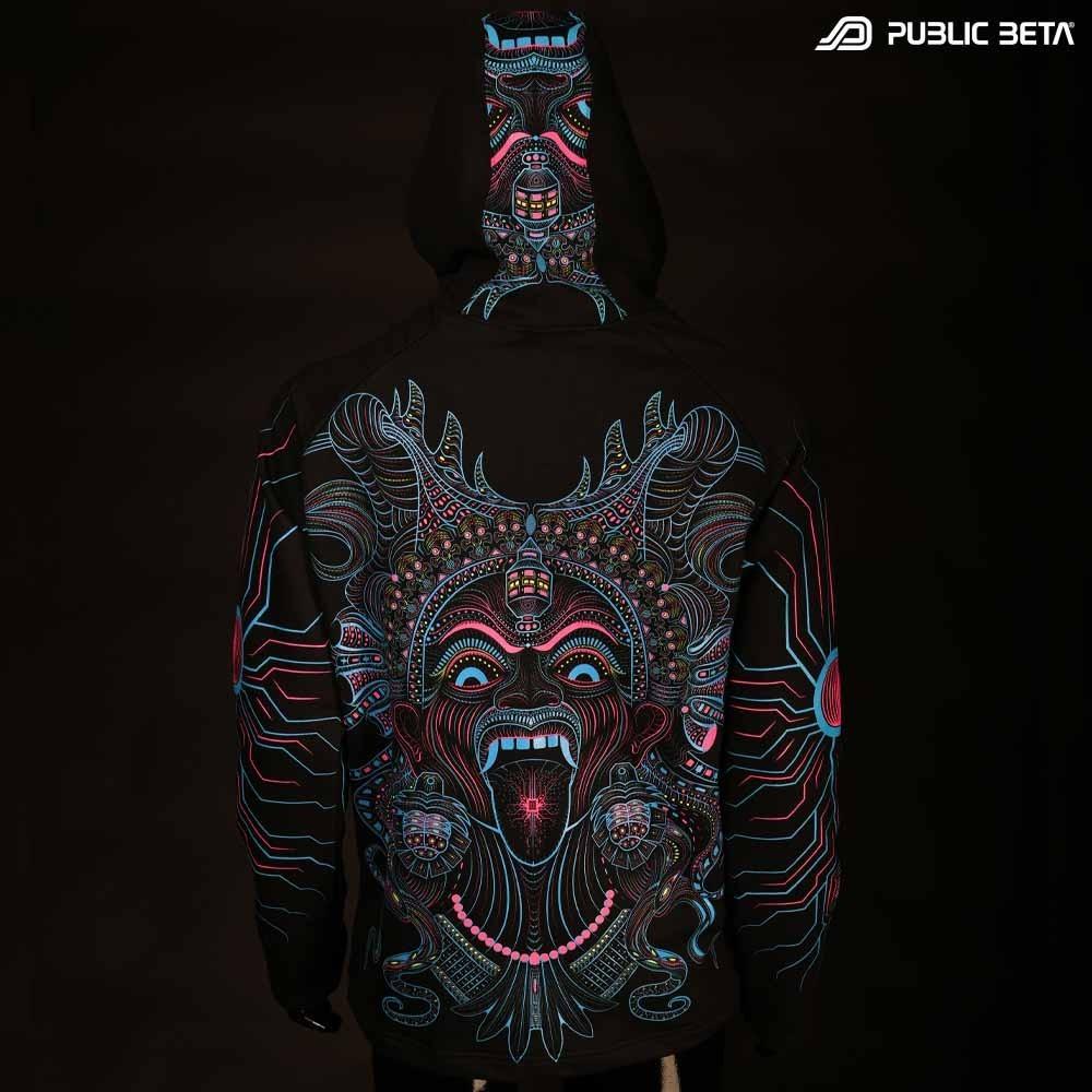 UV Active Psyart Printed Hooded Sweater / Kali UV D150