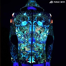 Neurotunnel UV D147 Hooded Sweater / Glow in Blacklight Digital Print