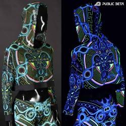Archaic Trip Hooded Mash Top by Public Beta Wear Blacklight Psytrance Fashion