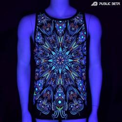 Cyberdala UV D108 Sleeveless Shirt/ Glow in Blacklight Psytrance Wear