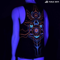 Sleeveless Public Beta 100 Blacklight  Psytrance Art on Clothing
