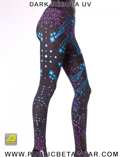 Dark Nebula UV D5 -Blacklight Reactive Leggings
