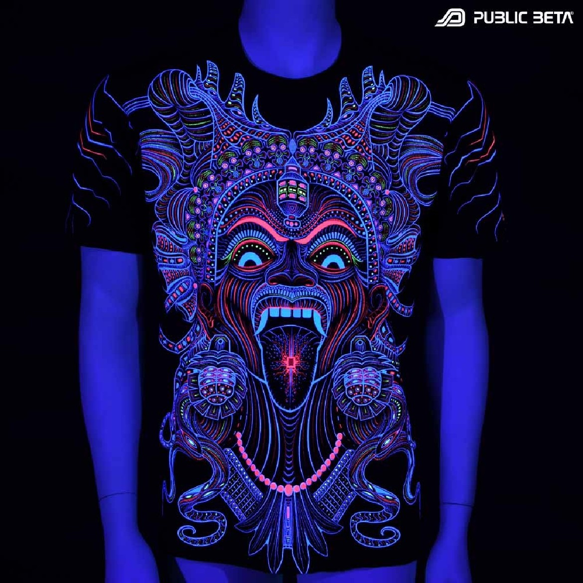 UV reactive graphic art printed t-shirt