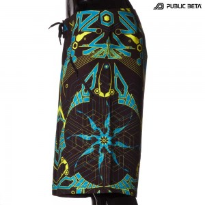 Boardshorts with blacklight reactive print