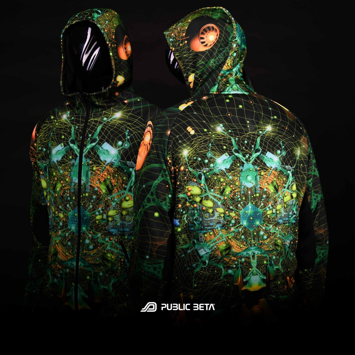 Blacklight reactive printed  hooded sweater