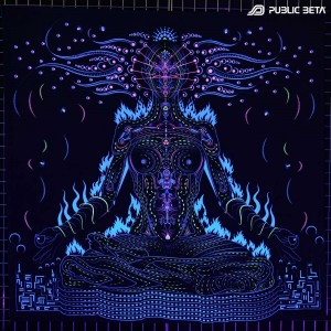 Blacklight active psychelic tapestry